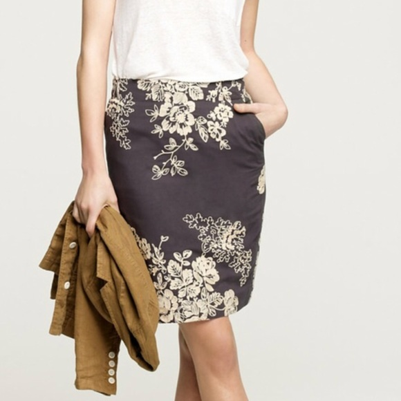 8bfdbaedf J. Crew Factory Dresses & Skirts - J. Crew Embroidered Floral Pencil Skirt